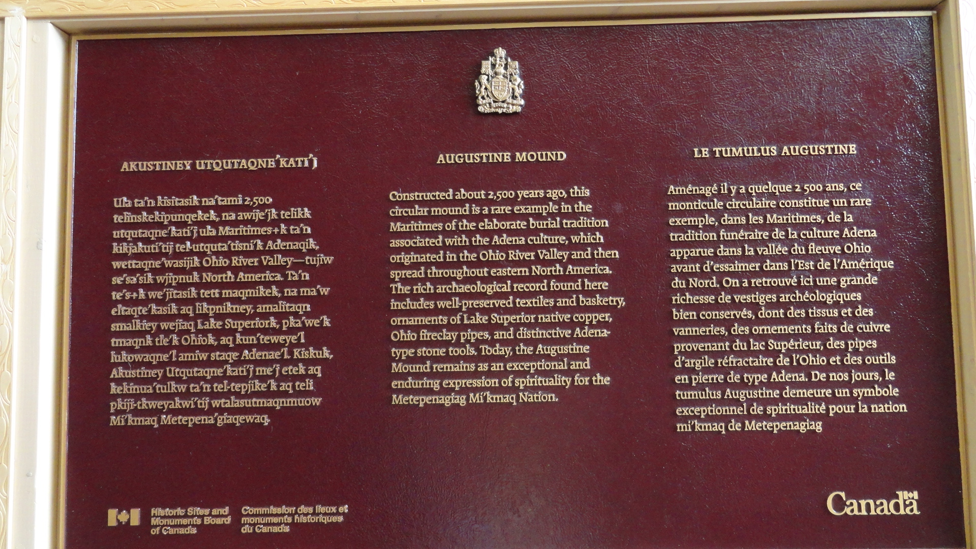 National Historic site Government of Canada Plaque