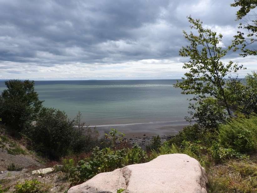 Rock on Fundy Trail overlooking the bay