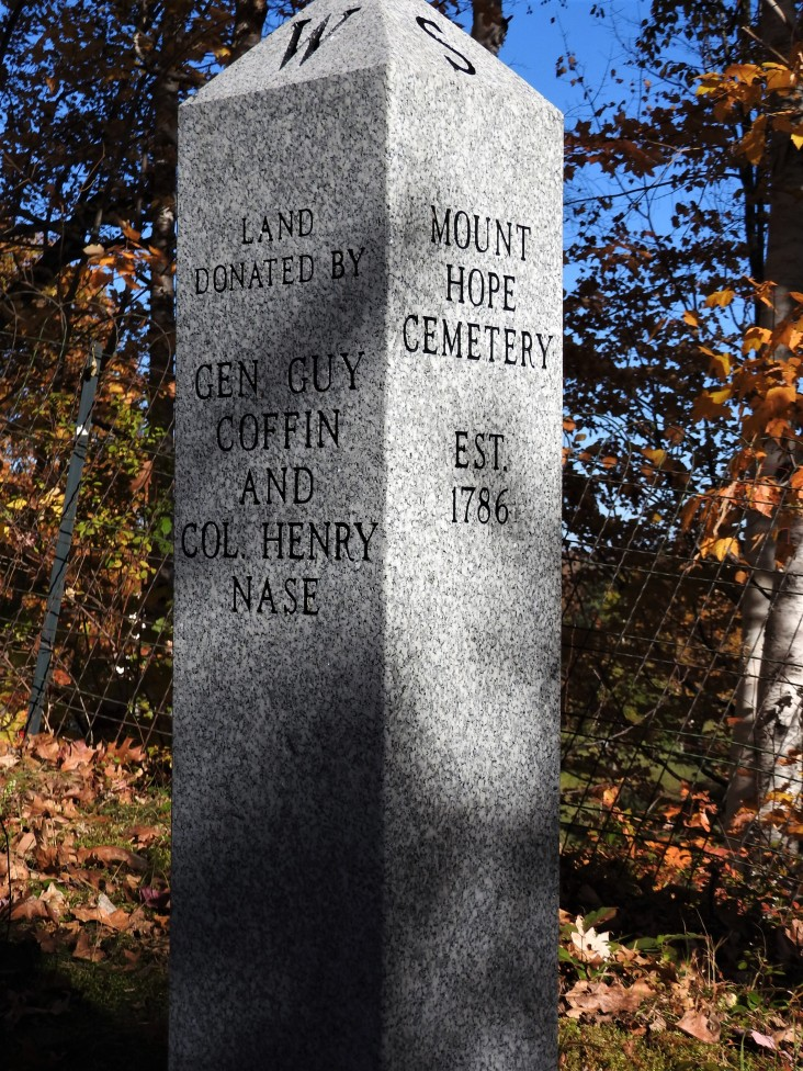 stone Market Mount Hope Cemetery EST 1786, Land Donated by Gen Guy Coffin and Col Henry Nase