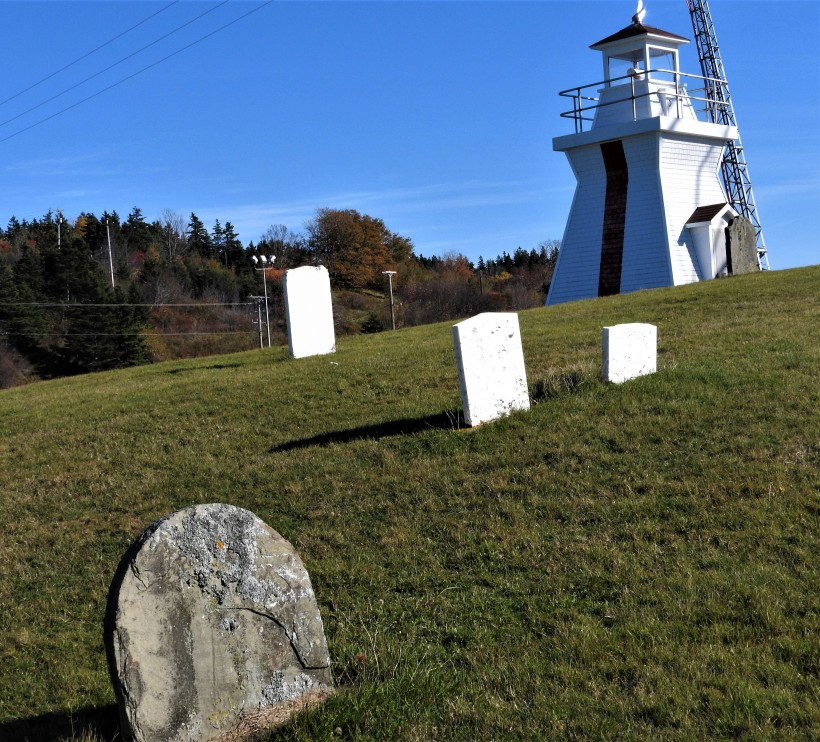 Graves on lawn in front of Lighthouse