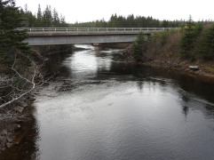 view from foot bridge off Oban Road before the village of St Peters off Highway 4 Cape Breton