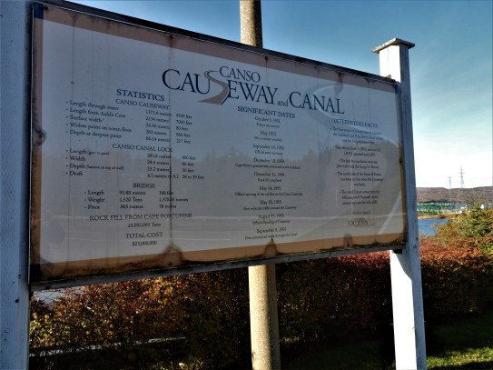 Canso Causeway Statistics board for those that want the details of how much, how long how far, etc