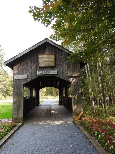 Meenans Cove Park, has a miniature Covered Bridge on trail.