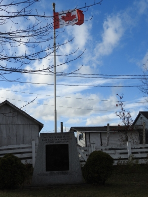 Monument outside court house, from base Gagetown Communtym historical society