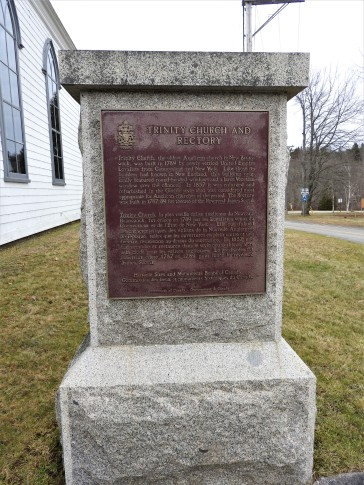 National Historic Plaque Trinity Anglican Church, Kingston New Brunswick