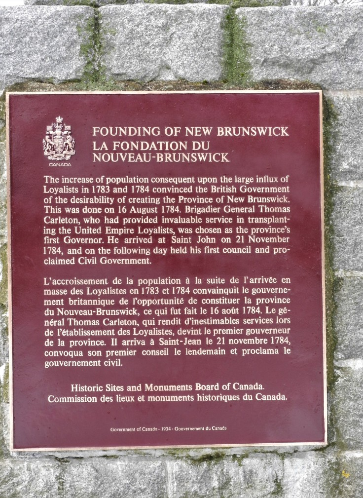 founding of New Brunswick National Historic Plaque