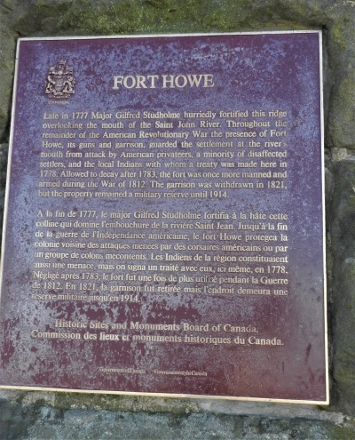 Fort Howe New Brunswick National Historic Plaque