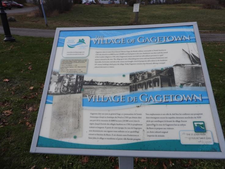 Gagetown town Grant Loyalist settlement