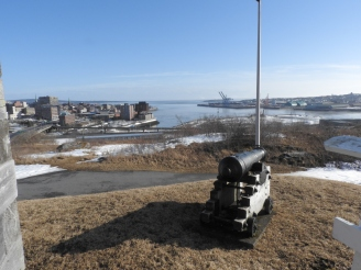 replica Canon protecting Saint John Harbour from fort Howe
