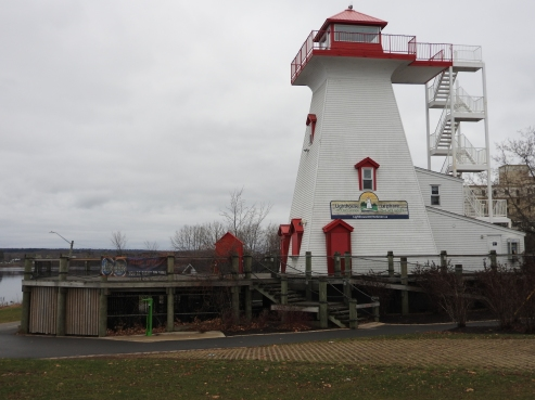 In Land Lighthouse for Saint John River On Green downtown Fredericton, outdoor eatery and pub in summer time