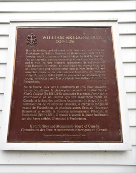 National Historic Site Plaque on William Brydone Jack Observatory University of New Brunswick