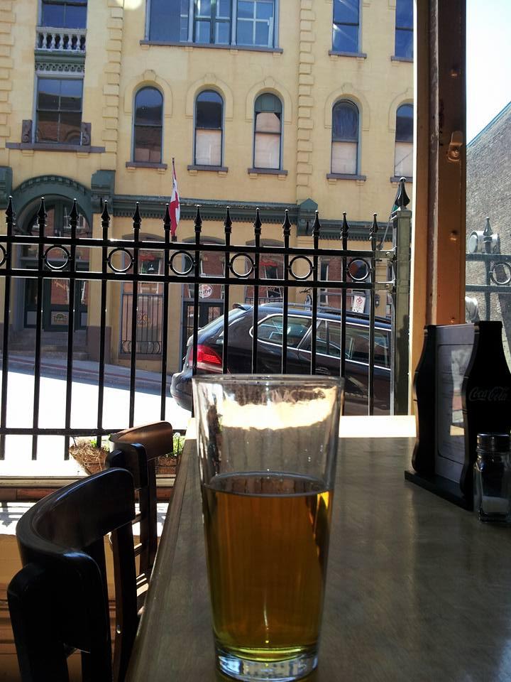 window of the Big Tide brew house pub Saint John