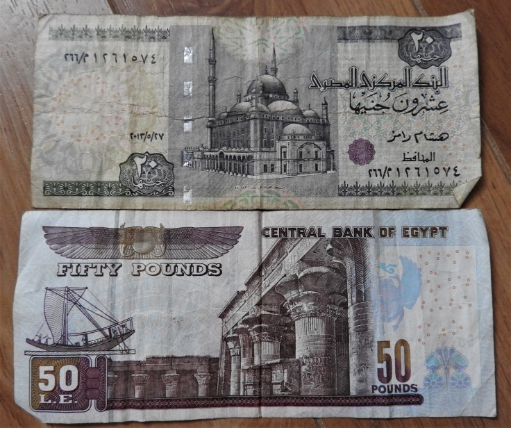 fifty and a twenty Egyptian pounds