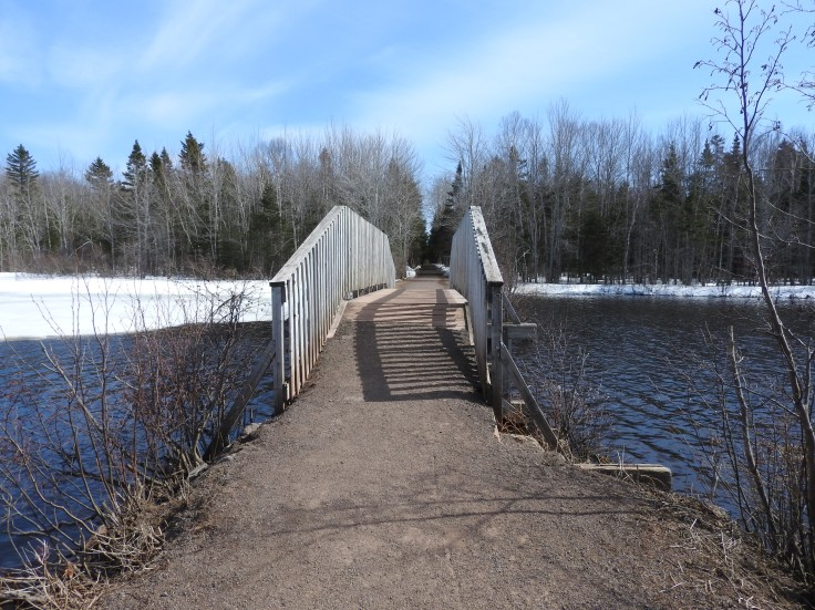 Bridge on The Bouctouche Line trail in Irishtown Nature Park, Moncton, NB Canada