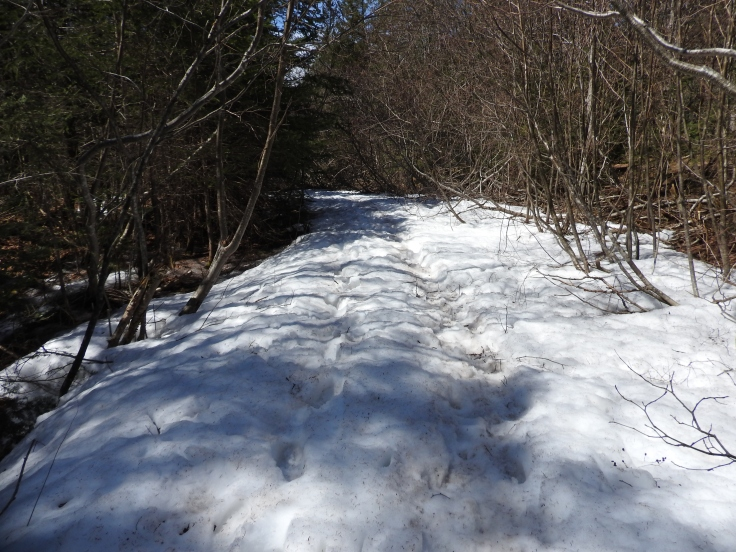 Still plenty of snow on the trail end of April.