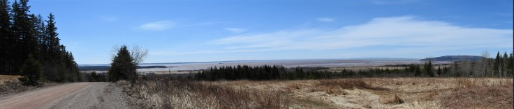 Panoramic photo out into the Bay of Fundy