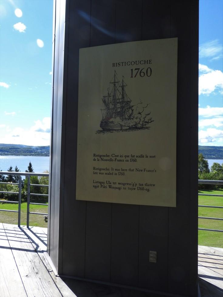 plaque in the museum at Battle of Restigouche